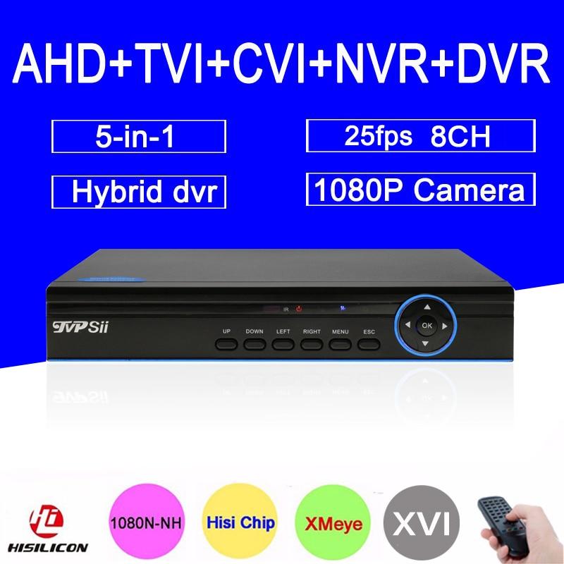 Bule Ray Case HI3521A 25fps 8 Channel 8CH 1080P Surveillance Camera 1080N Coaxial Hybrid NVR TVI