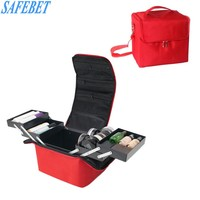 SAFEBET New Women Waterproof Fold Makeup Storage Bag Travel Portable High Capacity Cosmetic Organizer Drawer Divider Container