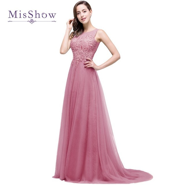 eefef5b3eb MisShow Elegant 9 Colors A Line Appliques Lace Prom Dresses 2017 Sexy  Backless Tulle Long Evening Party Gowns Robe De Soiree