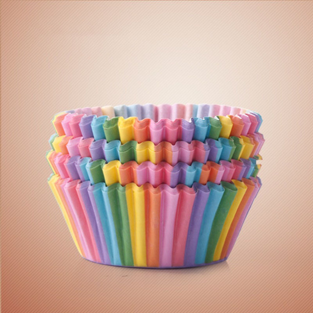 Rainbow color 100pc cupcake liner baking cup cupcake paper muffin cases Cake box egg tarts tray kitchen accessories tools,4color