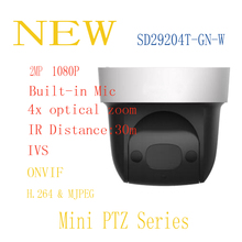 Free Shipping DAHUA Security IP Camera cctv 4X 2MP HD Mini IR PTZ Dome Camera with POE Wifi Camera Without Logo SD29204T-GN-W