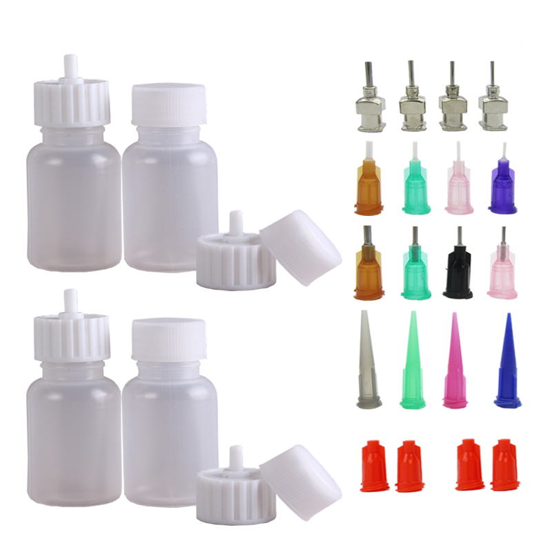 Multi Purpose Precision Applicator Set 4 Pcs 1 Oz Henna Bottle With 8 Caps 16 Pcs Needle Tips Sizes,Use For Henna Tattoo Paste