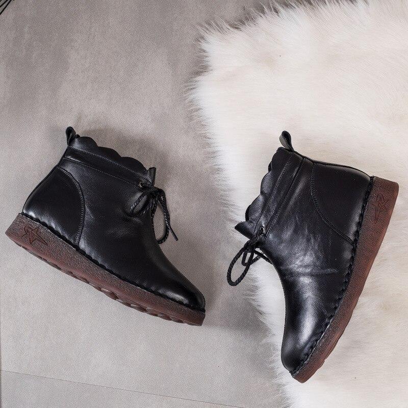 En À Cuir Rétro Et La Boots 2018 slip Main Marque Bottes Black D'hiver black Nouveau Femmes Souple Boots Automne Chaussures Zxryxgs Véritable Confort Plat Non Single Winter 5nTAwaqn