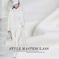 Pure White Color Thick Hard Weaved 100 Wool Wollen Goods Fabric Autumn Winter Overcoat DIY Clothes