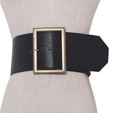 2020 Fashion Metal buckle wide leather belt Punk cool belts exaggerate heavy metal wide belts hip hop leather pu belt for women
