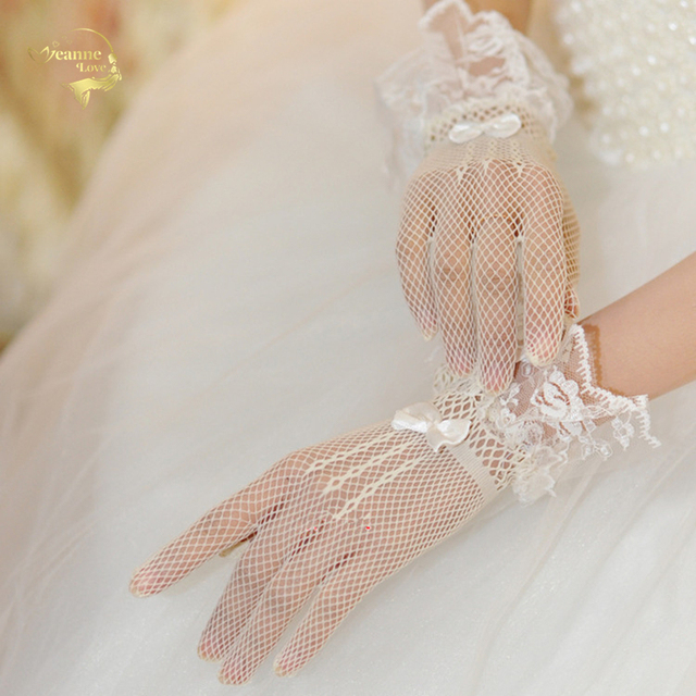 Bow Knot Short Wedding Gloves Bridal Mesh Lace Decoration Ultra Elastic Knitted Black White