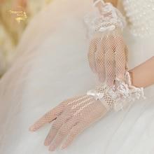 Wedding-Gloves Mesh Lace-Decoration Black White Bow Ultra Short Knot Elastic G030