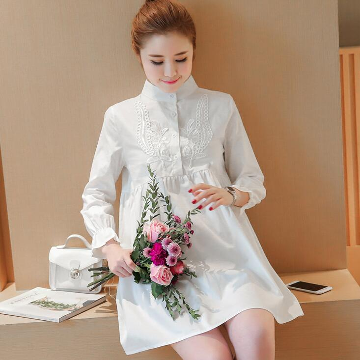 Pregnant women in the spring and autumn in the long section of pregnant women spring dress shirt white shirt shirt pregnant wome