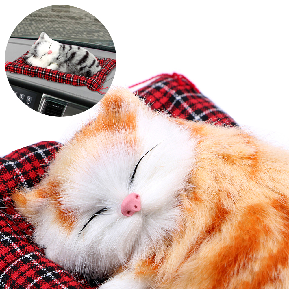 Cute Simulation Sleeping Cats Dashboard Decoration Car Ornaments Lovely Plush Kittens Doll Toy Car-styling Home Decoration