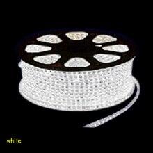ЕС Plug 3014 светодиодные ленты свет 220 В водостойкий 1to100m 220 Светодиодная лента в полоску теплый белый синий белый зеленый красный