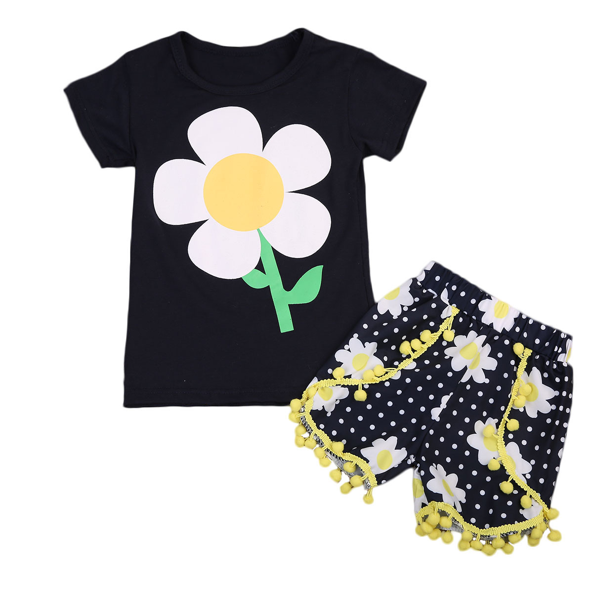 2017 Toddles Kids Girls Sunflower T-shirt Pants 2pcs Set Outfits Black Floral O-neck Clothes Size 1-6Years