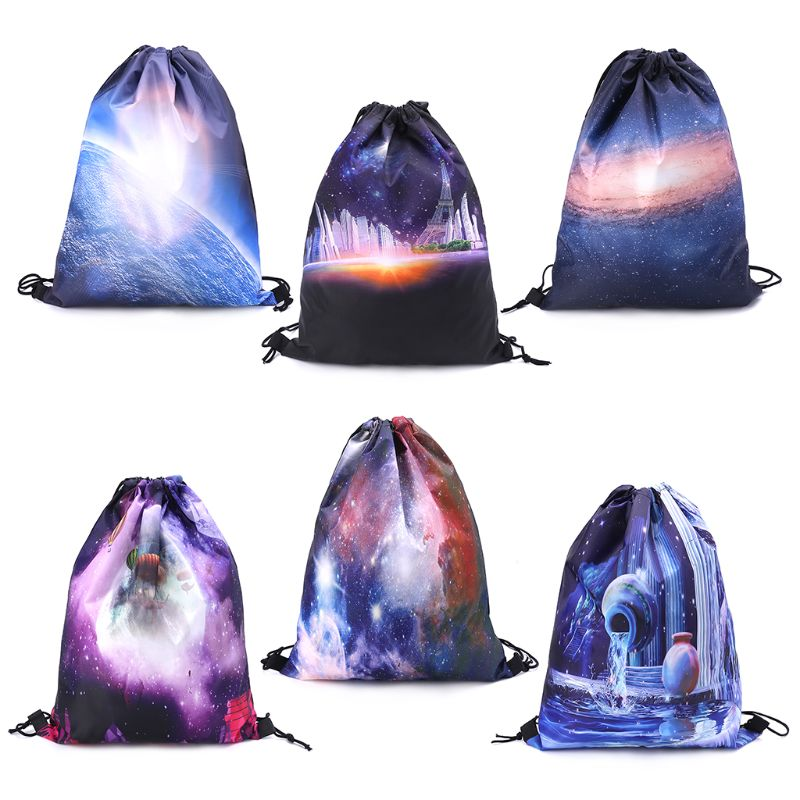 Starry Sky Drawstring  Closures Polyester Backpack Sport Rucksack School Travel Hiking Bags 32 X 42cm