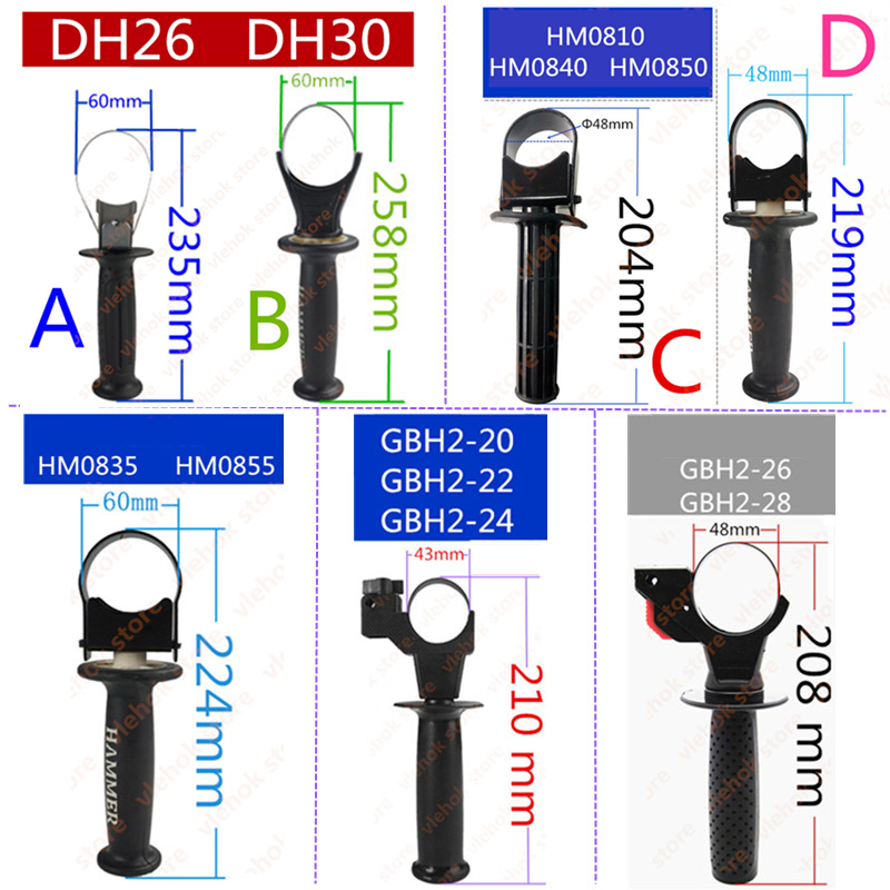 Auxiliary Front Handle Replace For BOSCH GBH2-22 GBH2-24 GBH2-26 GBH2-28 Makita HM0810 HM0840 HM0850 HM0835 HM0855 Hitachi DH26