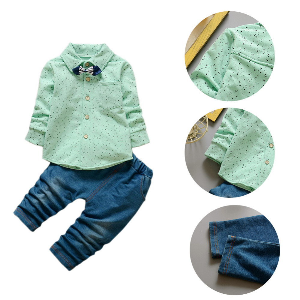 2pcs Baby Boy Gentleman Clothing sets Suit Newborn Baby Bow Tie Dot t-shirt +  jeans pants set Cotton baby clothes Outfits gentleman baby boy clothes black coat striped rompers clothing set button necktie suit newborn wedding suits cl0008