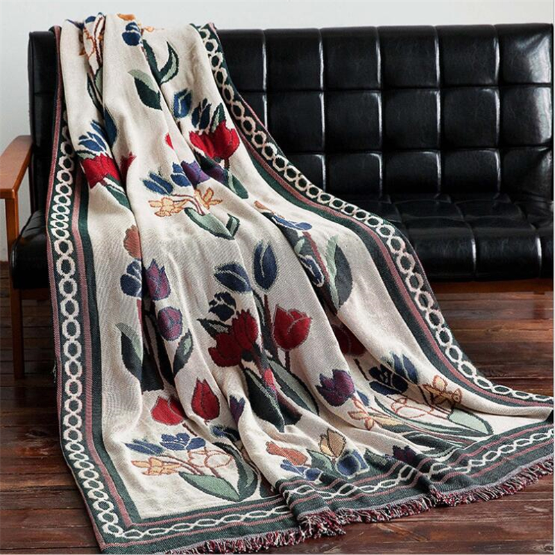 Tulip Design Blanket For Couch Sofa Decorative Slipcover High Quality European Style Stitching Travel Plane Blanket Healthy Mat