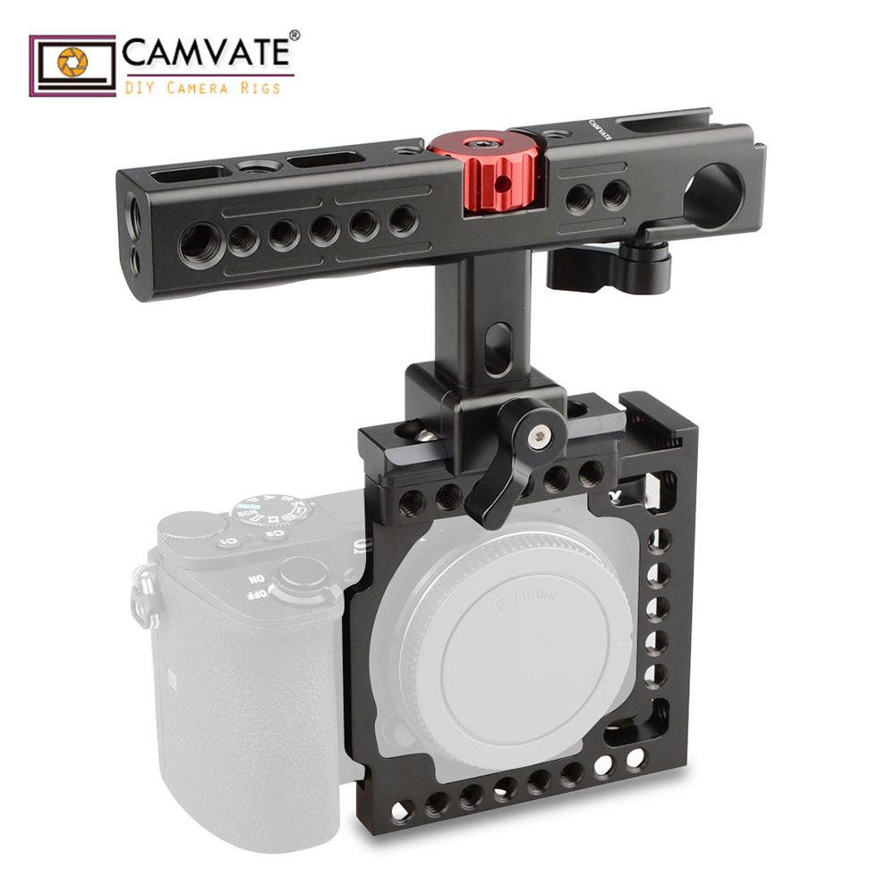 CAMVATE Handheld Camera Cage with QR Cheese Handle for A6500 A6400 A6000 A6300 Black C1599