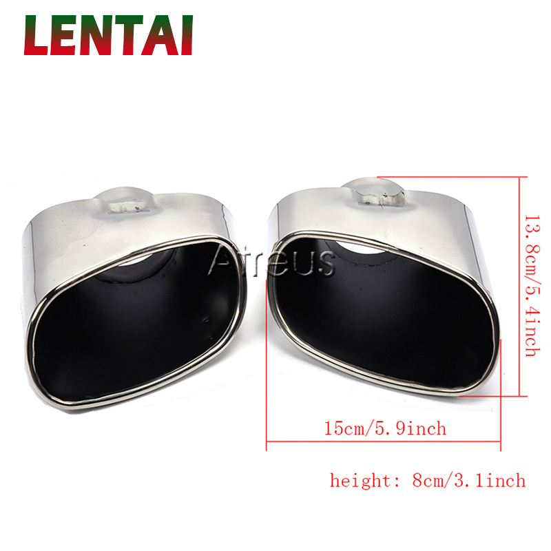 LENTAI 1pair Stainless Steel Chrome Car Exhaust Tips Muffler Pipe Tailpipe Cover For BMW X5 E53 E70 Accessories 2000 2016