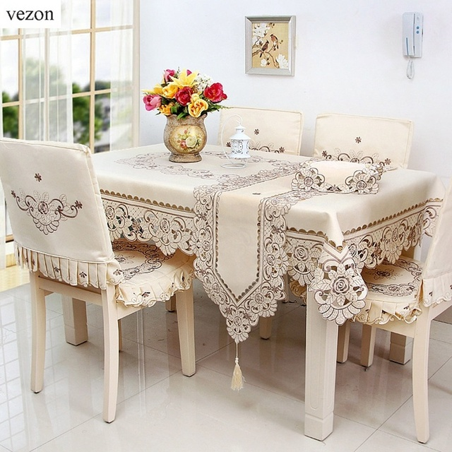 Vezon Europe Polyester Satin Jacquard Embroidery Floral Tablecloth Solid  Color Embroidered Table Linen Cloth Towel Cover