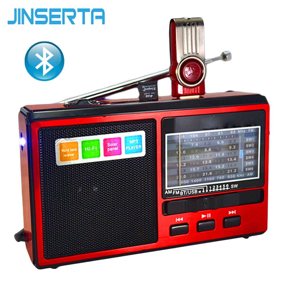 JINSERTA FM/AM/SW Radio Receiver MP3 Player Portable Bluetooth Radio with LED Flashlight Support U Disk/TF Card for PC Phone degen de1127 radio digital fm stereo receiver mw sw am with 4gb mp3 player mini digital radio recorder u disk e book d2975a