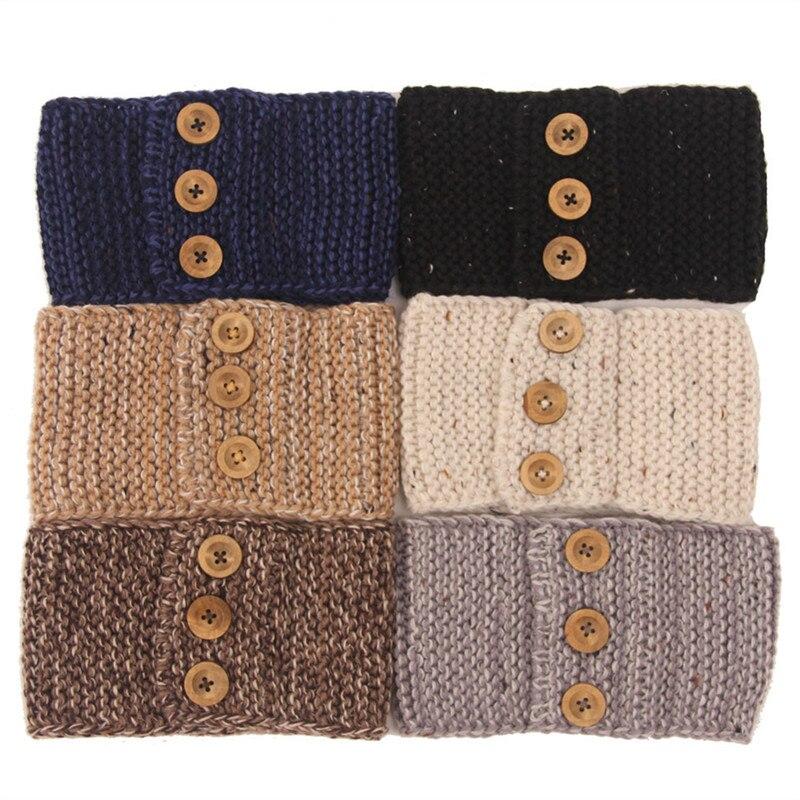 Winter Lady Crochet Headband Knitted Handmade Wooden 3 Buttons Hairband Women Ear Warmer Headwrap Hair Band Accessories