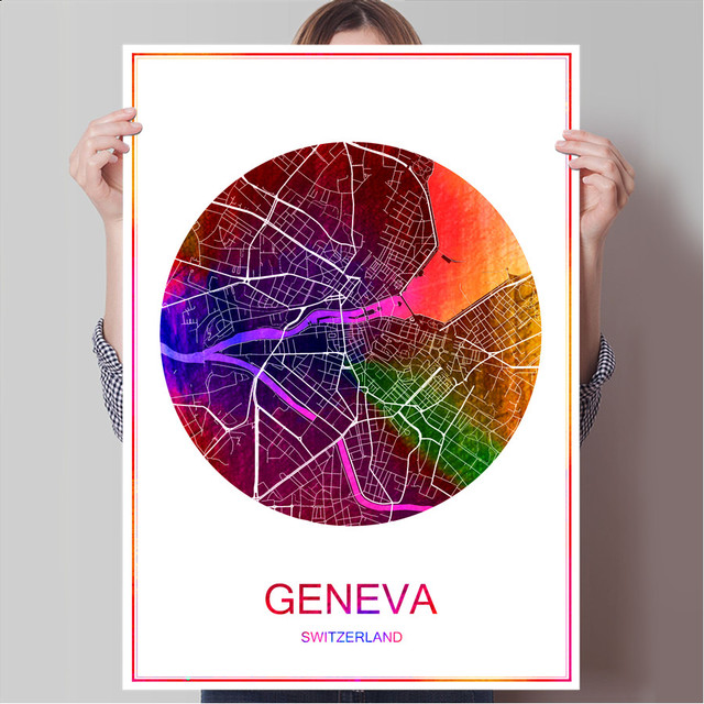 World Famous City Map GENEVA Switzerland Print Poster On Paper Canvas Wall Sticker Bar Pub