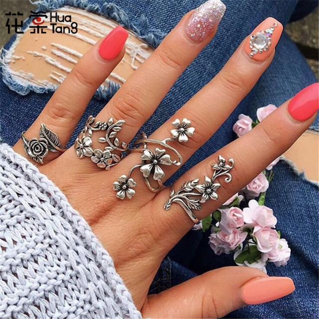 HuaTang Vintage Antique Silver Plant Ring Set Flower Leaf Carving Rings for Wome
