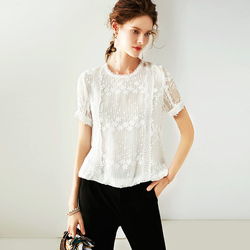 100% Silk Women T-shirt Solid Vintage Embroidery Pleated Design O Neck Short Sleeves Graceful Style New Fashion