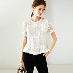 100% seide Frauen T-shirt Solide Vintage Stickerei Plissee Design O Neck Kurze Ärmel Anmutigen Stil Neue Mode
