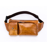Men Oil Wax First Layer Cowhide Fanny Waist Pack Crossbody Bag Vintage Travel Purse Cigarette Case