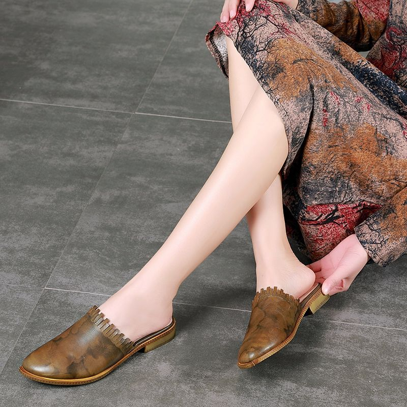 Retro rojo Militar Zapatos Nuevos on Plano Las Señoras Genuino Slip Cuero Verano De Casual 2019 Mujeres Sandalias Johnature Verde Zapatillas aFwqHYga