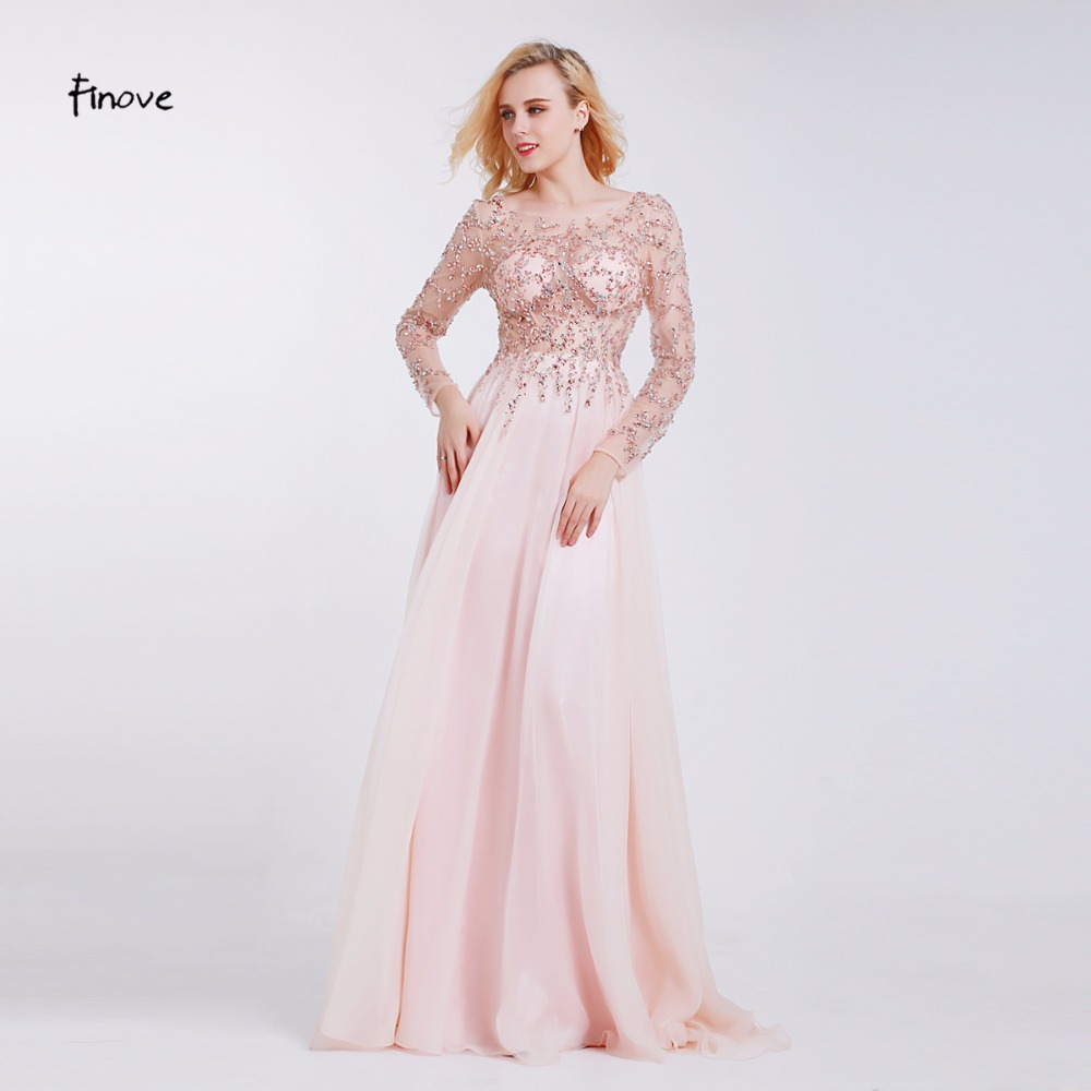Finove Prom Dresses Long 2019 Long Sleeve Crystals Beading By Hand Sexy See through A Line