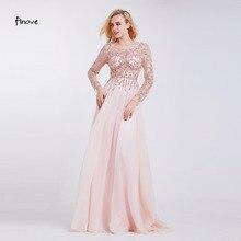 Balo kıyafetleri parti uzun kollu kristaller boncuk el seksi See through A Line elbiseler Robe de Soiree Finove