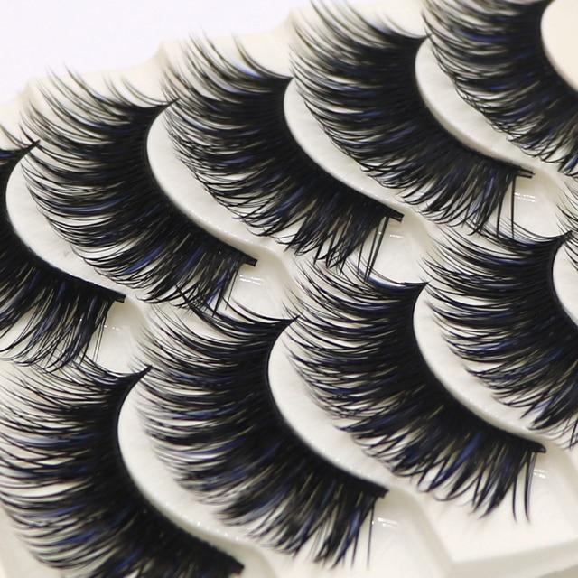 5 Pairs Handmade False Eye Lashes Thick False Eyelashes Makeup Tips