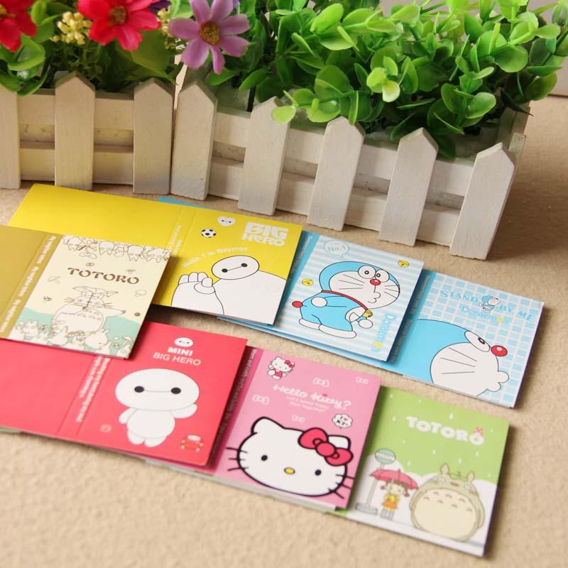 Einfach Cute Cartoon Totoro Hallo Kitty Doraemon Baymax Selbstklebende Notizblock Klebrige Notizblöcke Schöne Katze Bär Aufkleber