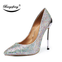 BaoYaFang New Strange Style Spoon Heels Luxury Wedding shoes Woman High shoes Thin Heels Pointed Toe Crystal Party dress shoe