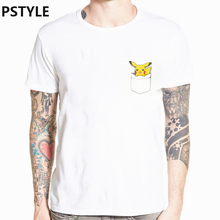 Summer Mens T Shirt Pokemon Go Short Sleeve Funny Shirts Pocket Design TShirt Pikachu Print White Anime Tops