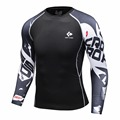 Muscle man compression tight skin shirt with long sleeves 3 d printing MMA Rashguard fitness base layer weightlifting men long s