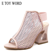 E TOY WORD 2019 Summer womens sandals fashion fish mouth thick with female Hollow Mesh Size 35-40 women shoes