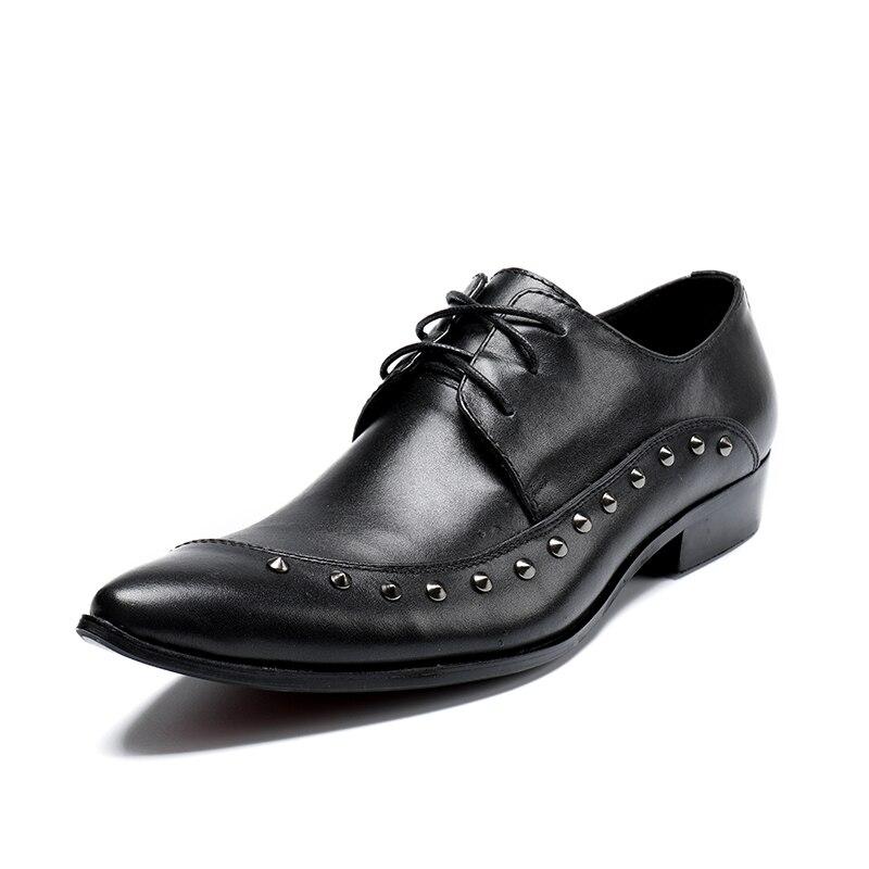 De Genuino Hombres Zapatos 46 Negro {zorssar} Punta Negocios Tamaño Cuero Para Vestido Oxford Formal Oficina dawnaZYtx