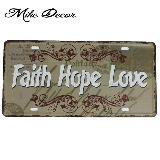 [ Mike86 ] Faith Hope Love Metal sign Cafe Home room decoration D-610  30*15 CM