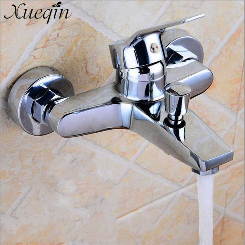 Xueqin Wall Mounted Bathroom Faucet Bath Tub Mixer Tap Shower Faucet Chrome Finish Thermostatic Shower Mixer Hot/Cold Water