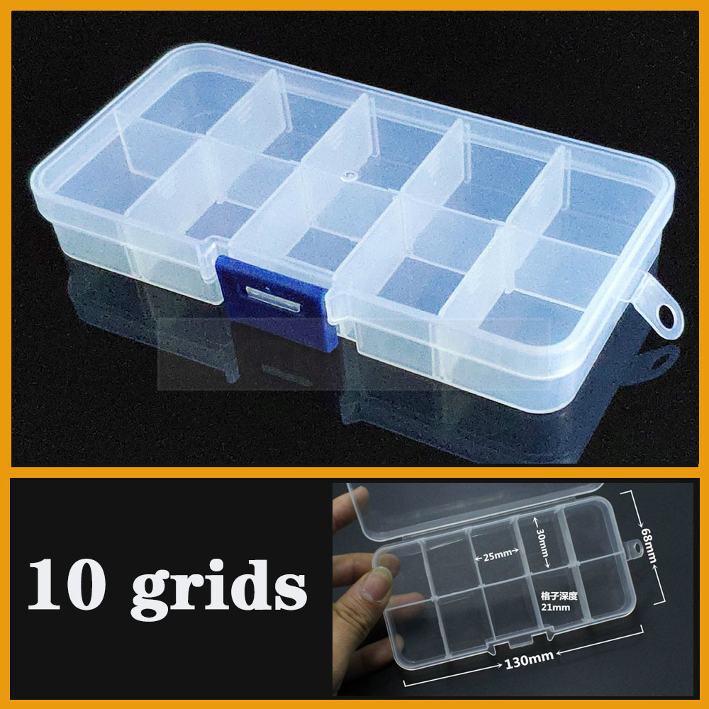 Plastic Storage Box Practical Adjustable 10 Grid Compartment Jewelry Earring Bead Screw Holder Case Display Organizer Container