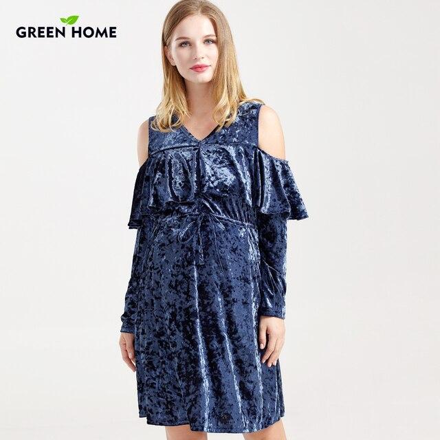 3897be32f6389 Green Home Winter Maternity Dresses MomsPregnancy Clothes Thicken Velvet  for Breastfeeding Pregnant Women Nursing Dress Wearing