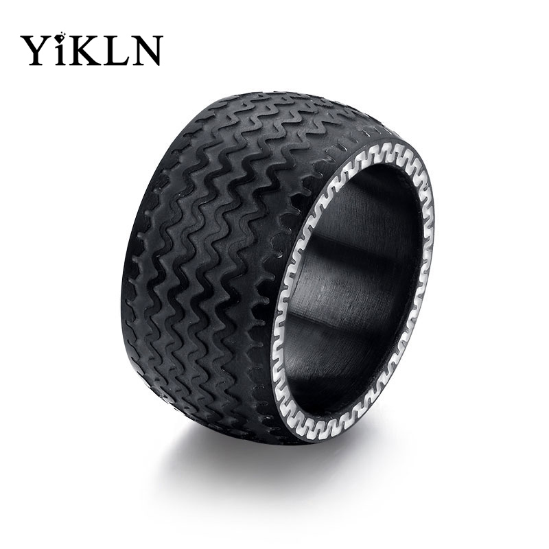 YiKLN Black Gun Plated 13mm Punk Tire Rings For Men Hiphop/Rock Stainless Steel Wedding Bands Black Color Design Ring JRC078