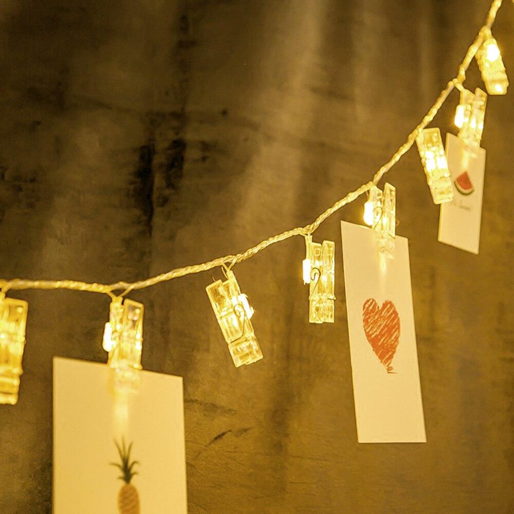 4M 20 LED String Light Photo Card Transparent Clip 220V EU Plug Christmas New Year Party Decorative Lights JL