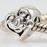 Original 925 Sterling Silver Mickey Heart Charms Diy Beads Fits For Pandora Bracelets Free Shipping
