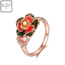 XZP Vintage Enamel Rose Flower Charms Ring for Women Gift with Austrian Crystal Pave Rose Gold Color Female Wedding Jewelry цена 2017