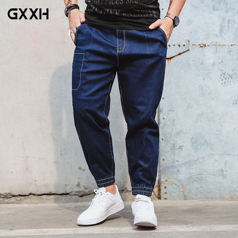 2018 New Large Size Mens Elastic Waist Jeans Legs Cropped Pants Spring Autumn Mid-rise Straight Stretch Blue Jeans Size XL-6XL