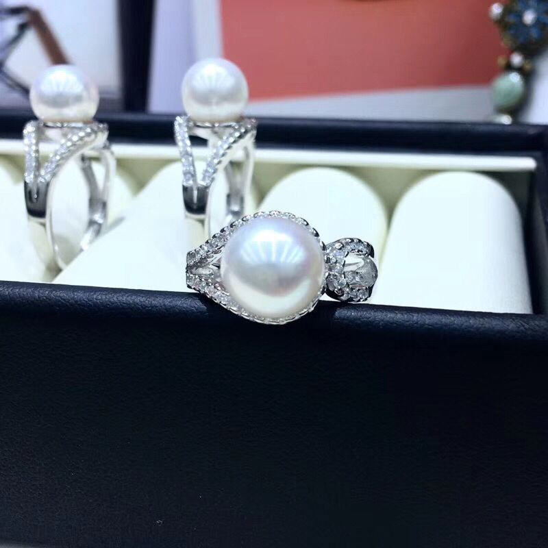 925 Silver Fashion Adjustable Pearl Ring Settings Findings Mountings Parts for Oyster Edison Pearls Corals Jade
