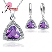 Pure 925 Sterling SIlver Jewelry Sets Shiny Triangle Cubic Zirconia Necklace Earrings Bridal Women Wedding Jewellery(China)